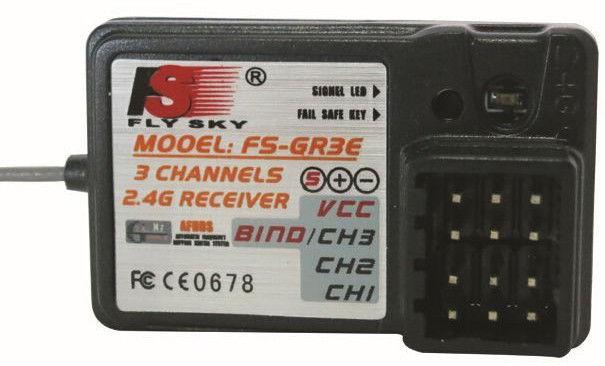 Pištoľové rádio FlySky GT2B 3CH 2.4GHz + prijímač GR3E