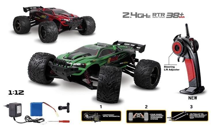 RC auto XLH: Truggy Racer 2WD 1:12 2.4GHz RTR - Červená