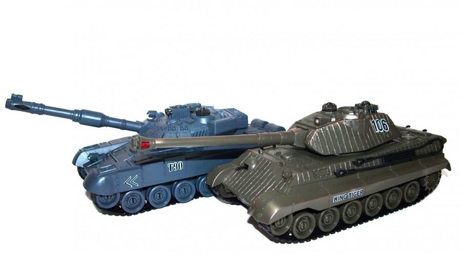 UF Sada vzájomne bojujúcich RC tankov Russian T90 v2 vs German King Tiger v2 2.4GHz