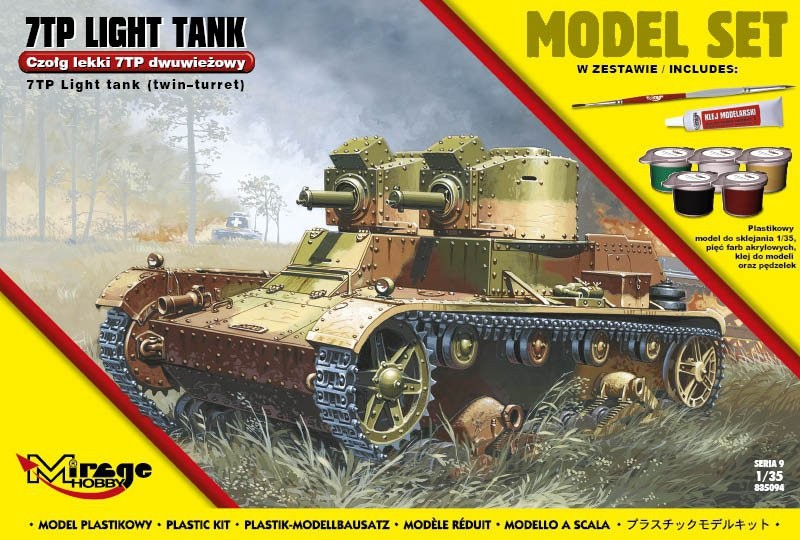 Plastový model na lepenie MIRAGE 7TP poľský ľahký dvojhlavňový tank