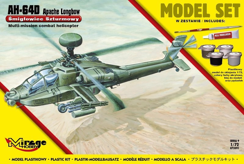 Plastovy model MIRAGE: AH-64D APACHE Longbow American Assault Helicopter