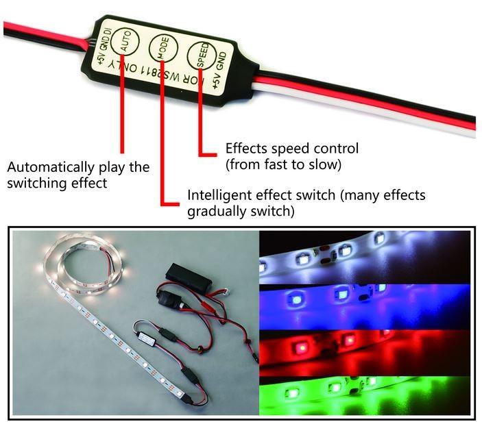 RGB LED DWhobby 5V regulátor osvetlenia