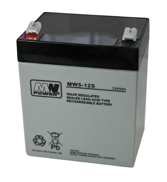 MW POWER: Pb 12V 5Ah bezúdržbový akumulátor 1,4 kg, maximálny nabíjací prúd 1,5 A, vybíjací prúd max. 50 A