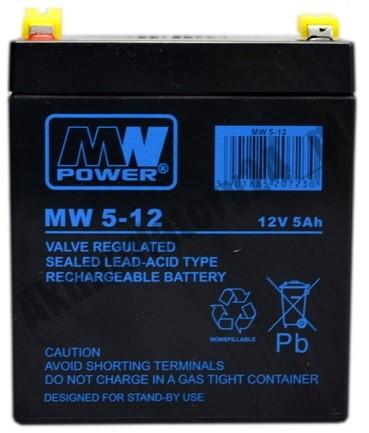 MW POWER: Pb 12V 5Ah bezúdržbový akumulátor 1,9 kg, maximálny nabíjací prúd 1,5A, vybíjací prúd max. 80A