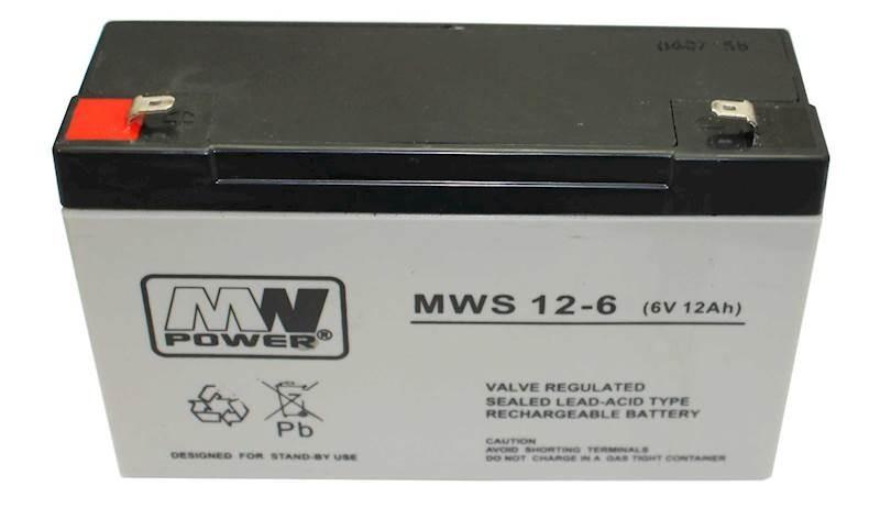 MW POWER: Pb 6V 12Ah bezúdržbový akumulátor 1,55 kg, nabíjací prúd 4A, vybíjací prúd 135A