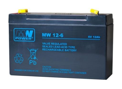 MW POWER: Pb 6V 12Ah bezúdržbový akumulátor 2,1 kg, nabíjací prúd 4A, vybíjací prúd 135A