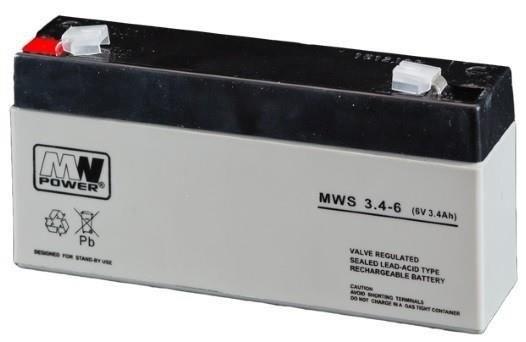 MW POWER: Pb 6V 3,4Ah bezúdržbový akumulátor 0,65 kg, maximálny nabíjací prúd 1A, maximálny vybíjací prúd 33A