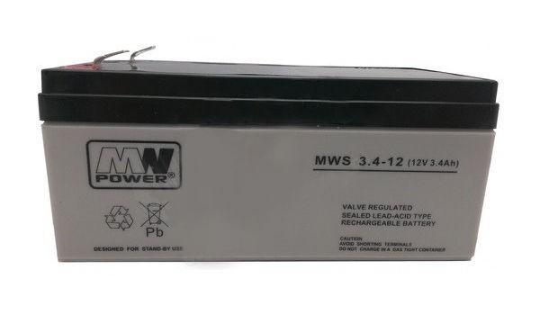 MW POWER: Pb 12V 3,4Ah bezúdržbový akumulátor 1,3 kg, maximálny nabíjací prúd 0,95A, maximálny vybíjací prúd 35A