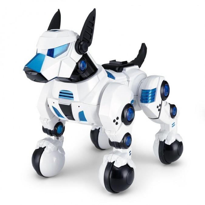 Interaktívny pes DOGO Rastar 1:14 (spev, tanec, vykonávanie príkazov, LED) - biela