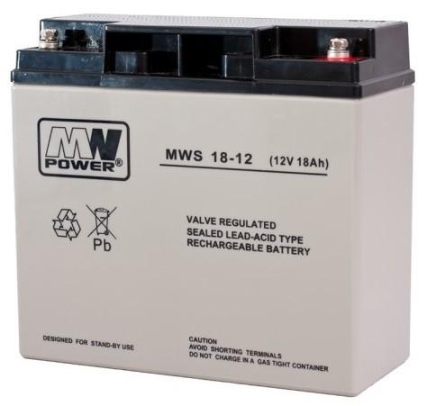 MW POWER: Pb 12V 18Ah bezúdržbový akumulátor 4,7 kg, maximálny nabíjací prúd 5A, maximálny vybíjací prúd 160A