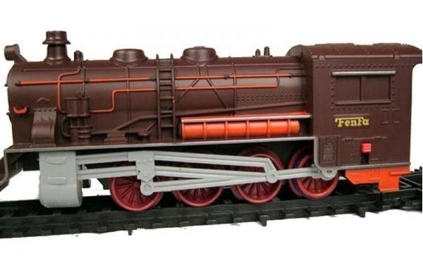 Elektrický vláčik s koľajnicami Fenfa - parná lokomotíva + vagóny