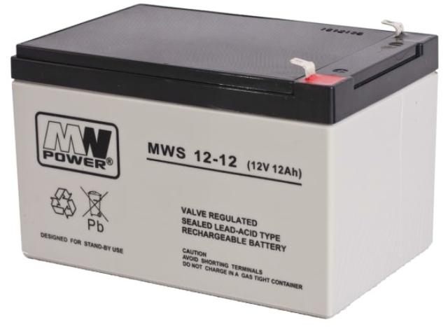 MW POWER: Pb 12V 12Ah bezúdržbový akumulátor 3,25 kg, nabíjací prúd 4A, vybíjací prúd 135A