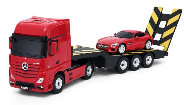 RC kamion Rastar Mercedes-Benz Actros s odťahovacím vozidlom 1:24 2.4GHz - červená