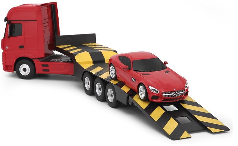 RC kamión Rastar Mercedes-Benz Actros z návesom  + osobný mercedes 1:26 - červený
