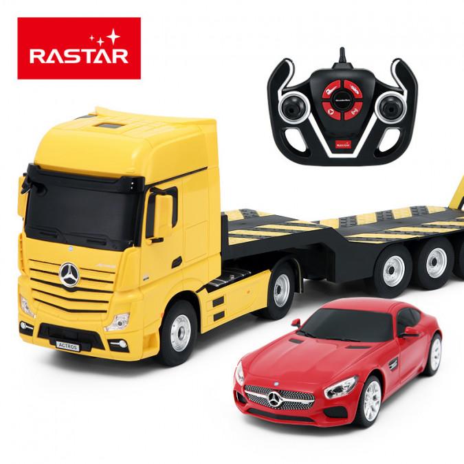 RC kamion Rastar Mercedes-Benz Actros s odťahovacím vozidlom 1:24 2.4GHz - žltý