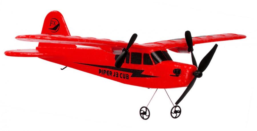 Lietadlo na ovládanie Piper J-3 CUB 2,4 GHz RTF 34 cm - červená