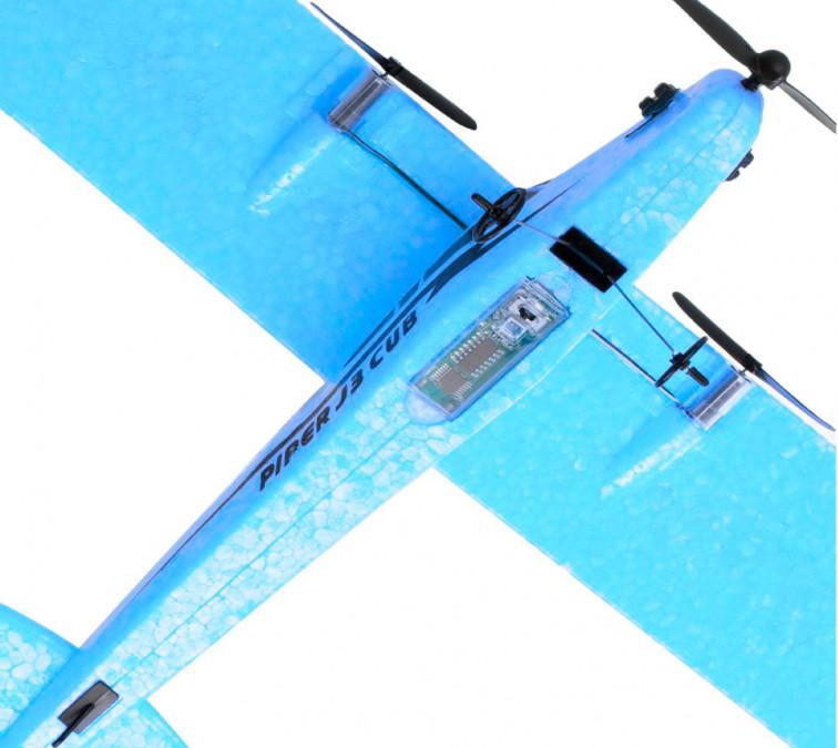 Lietadlo na ovládanie Piper J-3 CUB 2,4 GHz RTF 34 cm - modré