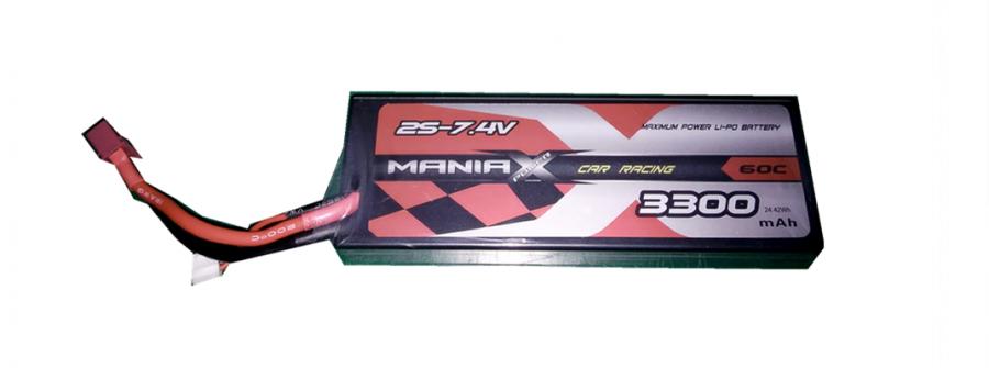 LiPo Batéria 3300mAh 7.4V 60C HardCase ManiaX RX/TX