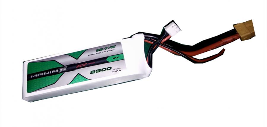 Batéria LIPO RX-TX 2500 mAh 7,4 V 10C ManiaX - vysielač a prijímač