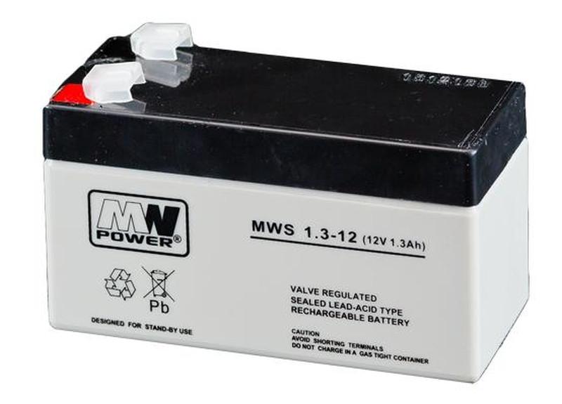 MW POWER: Pb 12V 1,3 Ah bezúdržbový akumulátor  0,57 kg, max. Nabíjací prúd 0,3 A