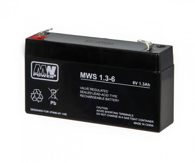 MW POWER: Akumulátor Pb 6V 1.3Ah  bezúdržbový