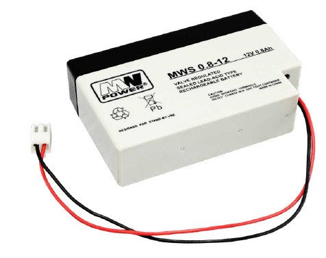 MW POWER: Pb 12V 0,8 Ah bezúdržbový akumulátor 0,57 kg, max. Nabíjací prúd 0,2A