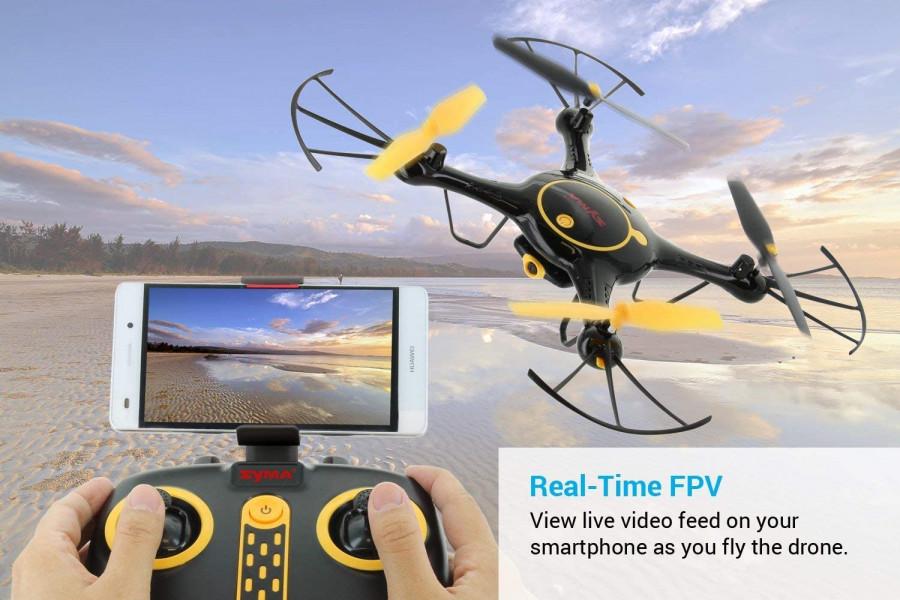 RC dron Syma X5UW WiFi FPV 720P kamera, 2.4GHz, funkcia zavesenia, plánovanie trasy - čierna