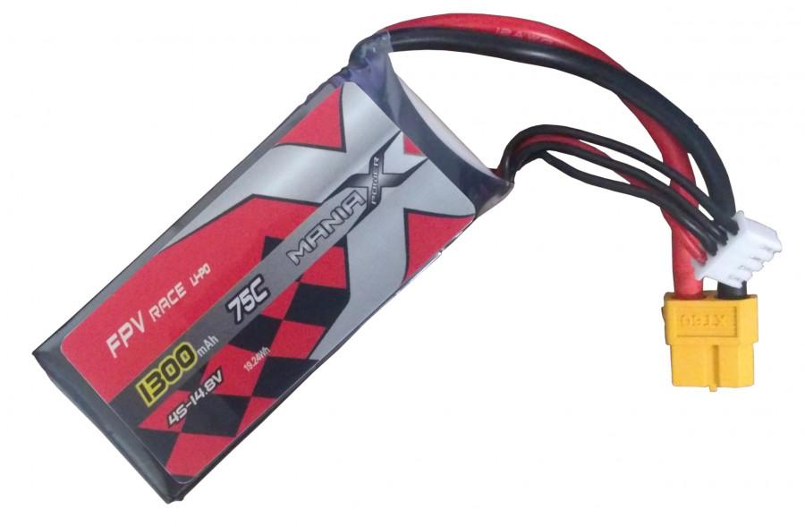 Batéria LIPO 1300mAh 14.8V 75C Racing ManiaX