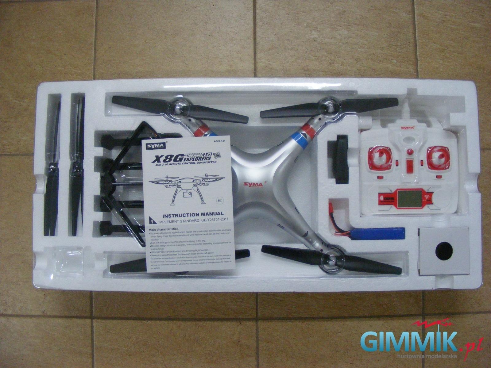 zawartość pudełka drona x8g