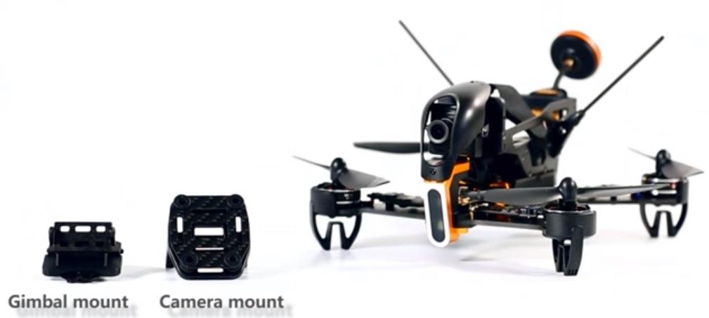 Walkera F210 z mocowaniem kamery i gimbalem pod GoPro