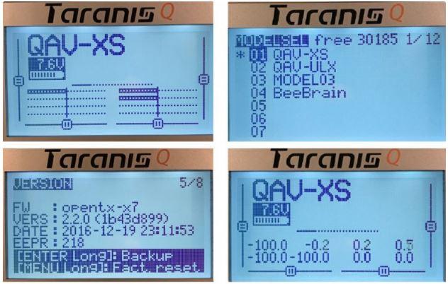 Taranis QX7 menu
